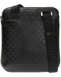 Emporio Armani Embossed Logo Shoulder Bag - Zwart