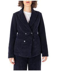 Barena Double-Breasted Velvet Jacket - Bleu