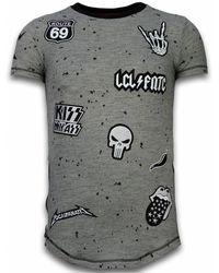 Local Fanatic Longfit Asymmetric Embroidery - T-shirt Patches - Rockstar - Groen