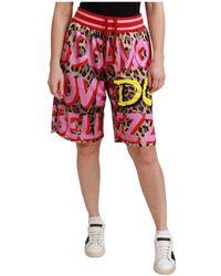 Dolce & Gabbana Pantaloncini con motivo leopardato - Rosa