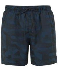 Calvin Klein Zwemshort Drawstring Optic Blocks Blue Shadow, Small - Zwart
