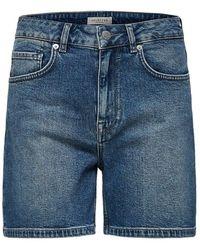 SELECTED High Waist Denim Short - Blauw
