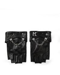 Karl Lagerfeld Leather Gloves - Zwart