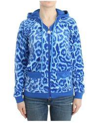 Roberto Cavalli Leopard Zipup Hoodie - Blauw