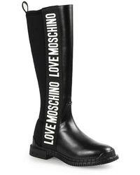 Love Moschino High Boots With White Logo Negro