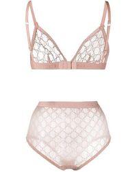 Gucci Set De Lencería De Tul Transparente - Rosa
