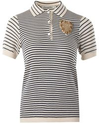 Dior Knitted Collared Top with Crystal Embellished Badge - Bianco