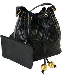 Chanel Vintage Quilted Bucket Shoulder Bag - Noir