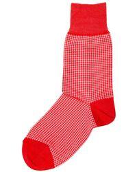 Be Soft Men's Low Socks Pied De Poule - Rood