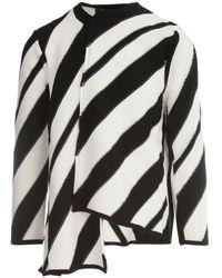Comme des Garçons Striped Asymmetric Sweater - Wit