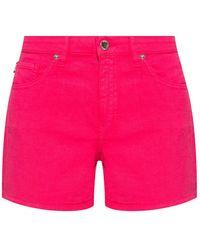 Love Moschino Denim Shorts With Logo - Roze