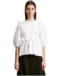 Cecilie Bahnsen Puff Sleeve Blouse H Ruffles - Wit