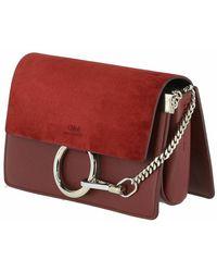 Chloé Faye Ring Leather Crossbody Bag Rojo
