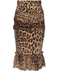 Dolce & Gabbana Leopard-printed skirt - Marron