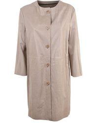 DROMe Leather Overcoat - Naturel