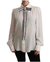 Dolce & Gabbana Shirt Met Lange Mouwen Blouse Silk Top - Wit