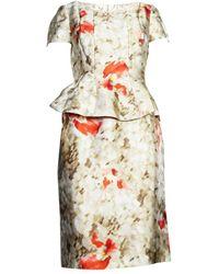 Oscar De La Renta Vintage Jurk Met Peplum Bloemen - Naturel
