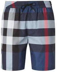 Burberry Checkered Swim Shorts - Blauw