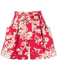 RED Valentino Batik Floral-print Shorts - Rood