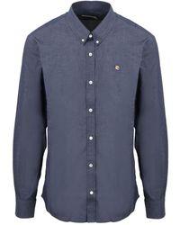 Maison Kitsuné Fox Head Embroidery Classic Shirt - Blauw