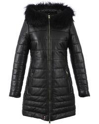Oakwood Mary Luxe Long Fur Trim Leather Coat - Zwart