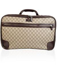 Gucci Monogram Canvas Web Suitcase Travel Bag - Marrone