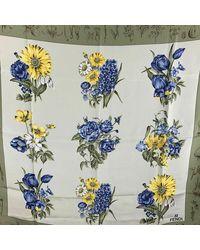 Fendi Vintage Pre-owned Silk Flowers Print Scarf Verde