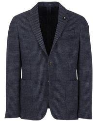 Lardini Houndstooth Jacket - Blauw