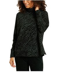 Majestic Filatures Zebra Pattern Turtleneck Oversized Sweater - Groen