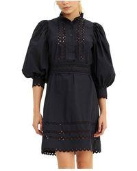 Antik Batik Mali Medium Dress - Blauw