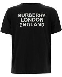 Burberry T-shirt Crew-neck Short Sleeves Logo Print On The Front - Zwart