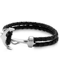 Nialaya Heren Zwart Lederen Armband Met Zilveren Anker - Grijs