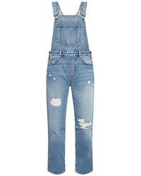 Ganni Denim Trousers With Suspenders - Blauw