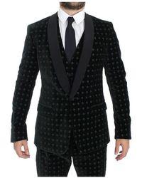 Dolce & Gabbana Velvet Martini 3 Piece Suit Tuxedo Verde