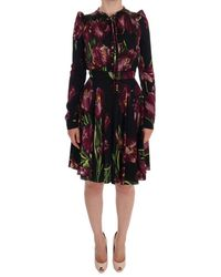 Dolce & Gabbana Silk Stretch Tulip Sheath Dress - Zwart