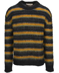 Marni Striped Brushed Mohair Knit Sweater - Bruin