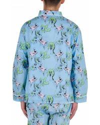 Brain Dead Pajama Top Shirt Azul