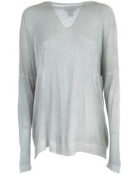 Avant Toi Boat Neck Bright Pullover With Slits - Gris