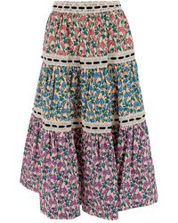 Marc Jacobs Prairie Tiered Skirt Made Of Cotton With All-over Floral Print And Lace Inserts. Flounced Model, Concealed Zip - Roze