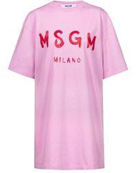 MSGM - Shirtkleid Mit Logo-print - Lyst