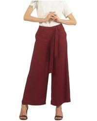Silvian Heach Culotte crop con cintura annodata - Rosso