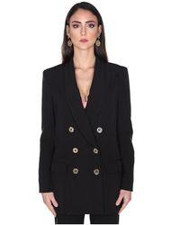 Elisabetta Franchi Double Breasted Jacket - Zwart
