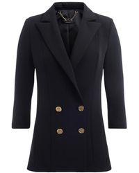 Elisabetta Franchi Double-breasted Jacket With 3/4 Sleeve - Zwart