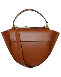 Wandler Big Shoulder Bag With Gold Inserts - Bruin