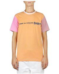Comme des Garçons Color Block T-shirt - Oranje