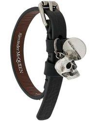 Alexander McQueen Skull Wrap Bracelet - Zwart