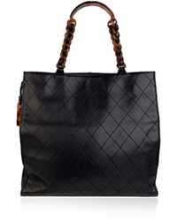 Chanel Vintage Quilted Tote Bag Shopper Lucite Handles - Blauw