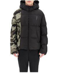 Neil Barrett Puffer Jacket With Camouflage Motif - Zwart