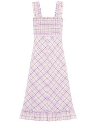 Ganni Seersucker Check Maxi Dress - Roze