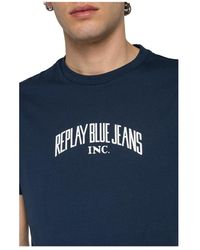Replay - T-Shirt Azul - Lyst